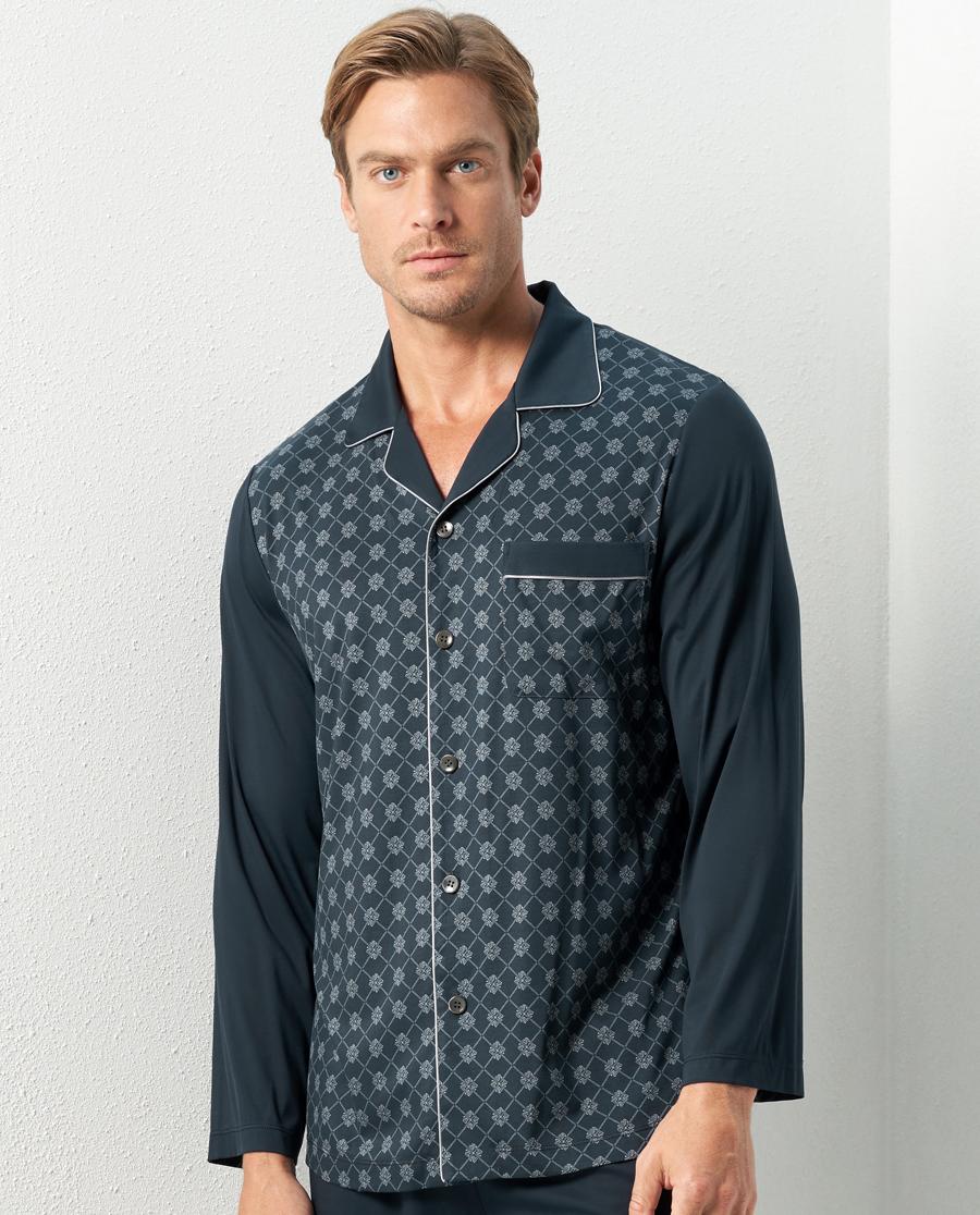 Aimer Men睡衣|亚洲城娱乐纵享丝滑家居翻领长袖开衫NS41