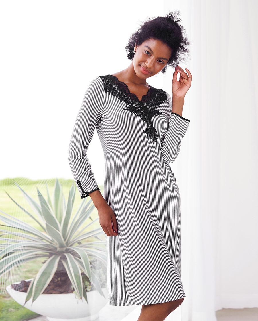 Aimer Home睡衣 爱慕律动条纹长袖睡裙AH440602