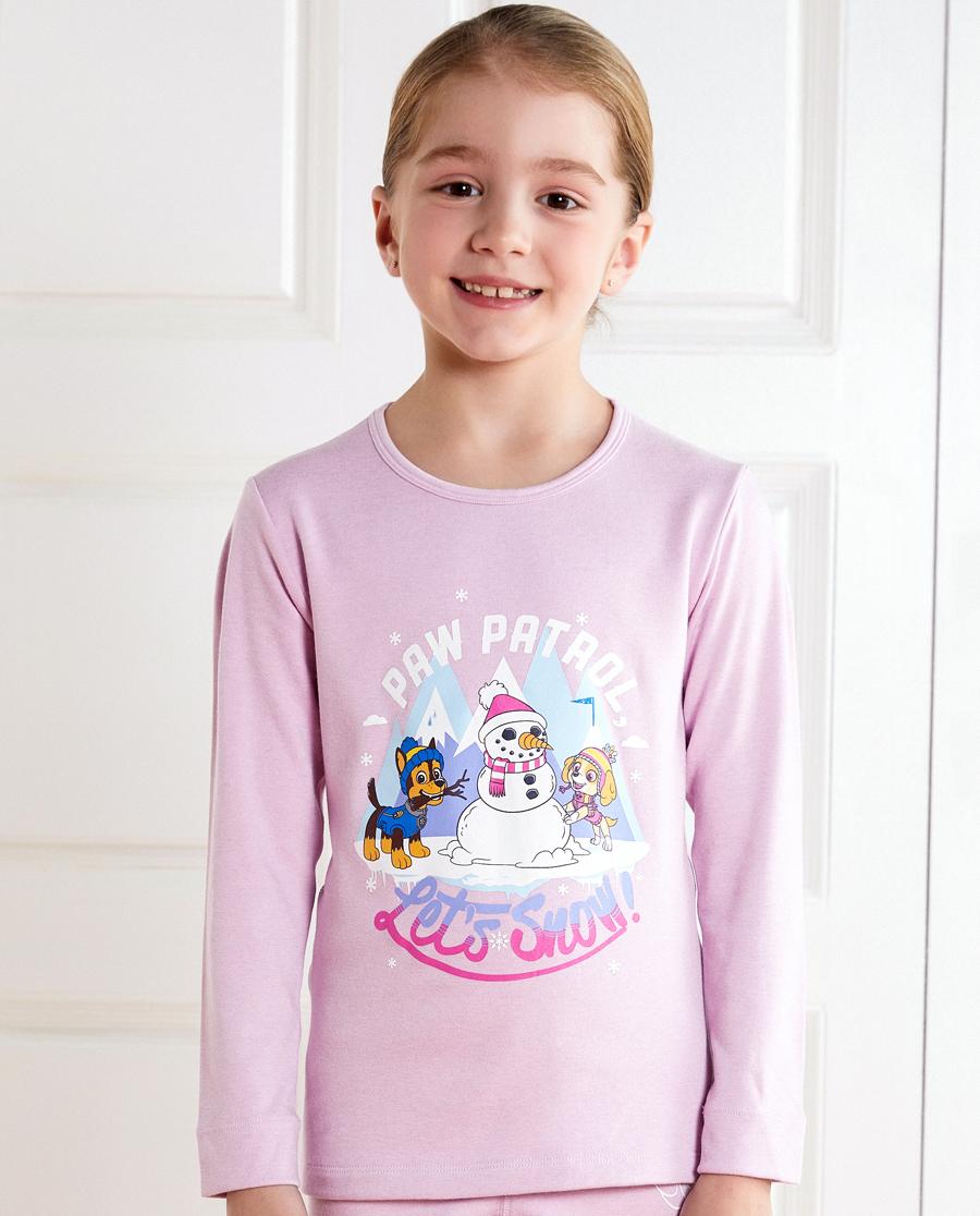 Aimer Kids保暖|亚洲城儿童汪汪队暖阳新意女童双层圆领长袖A