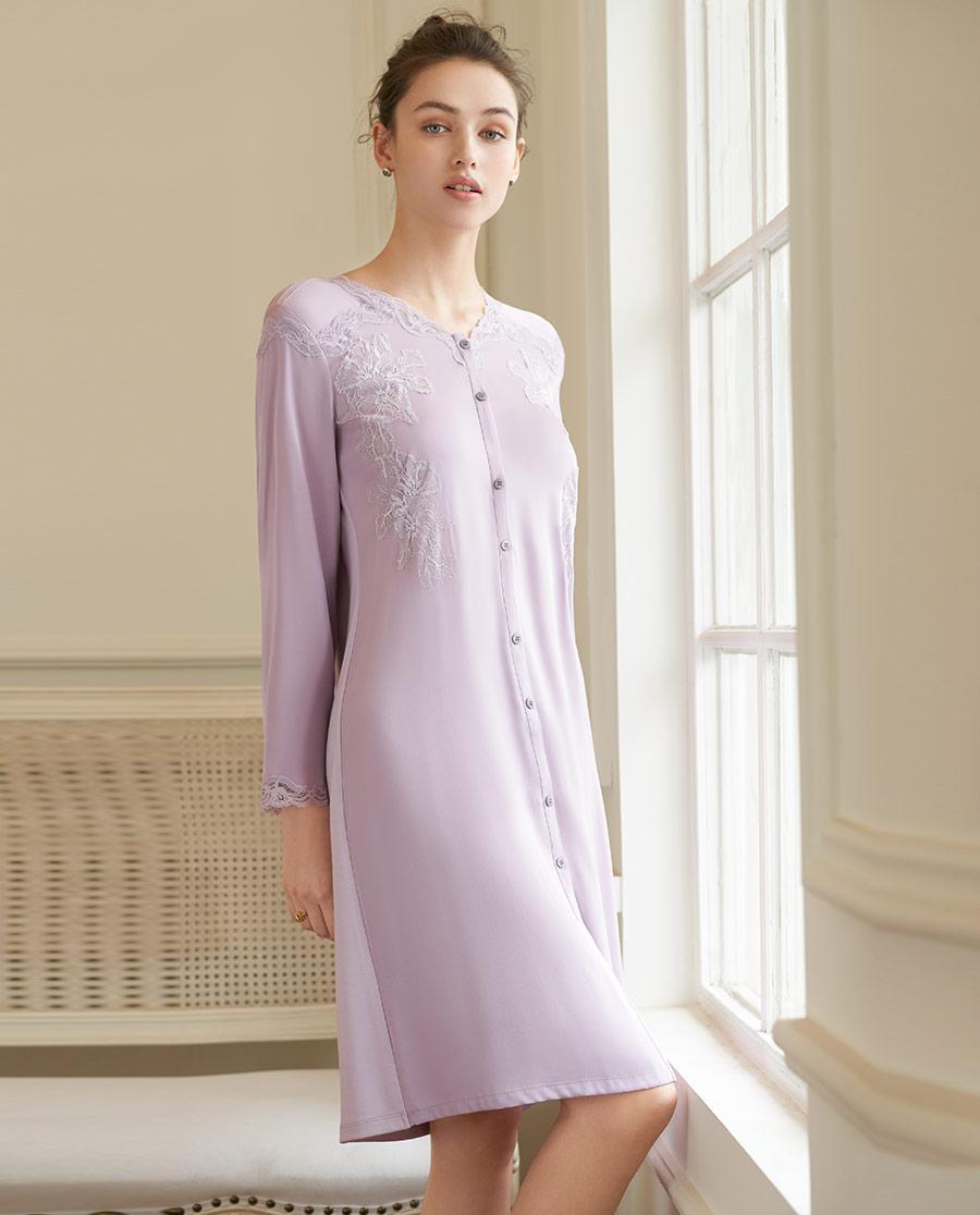 Aimer Home睡衣|爱慕家居丝滑柔情九分袖睡裙AH440612