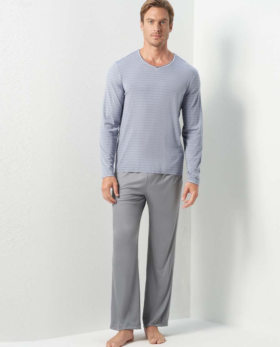 Aimer Men睡衣|亚洲城娱乐高莫条纹家居长裤NS42C591
