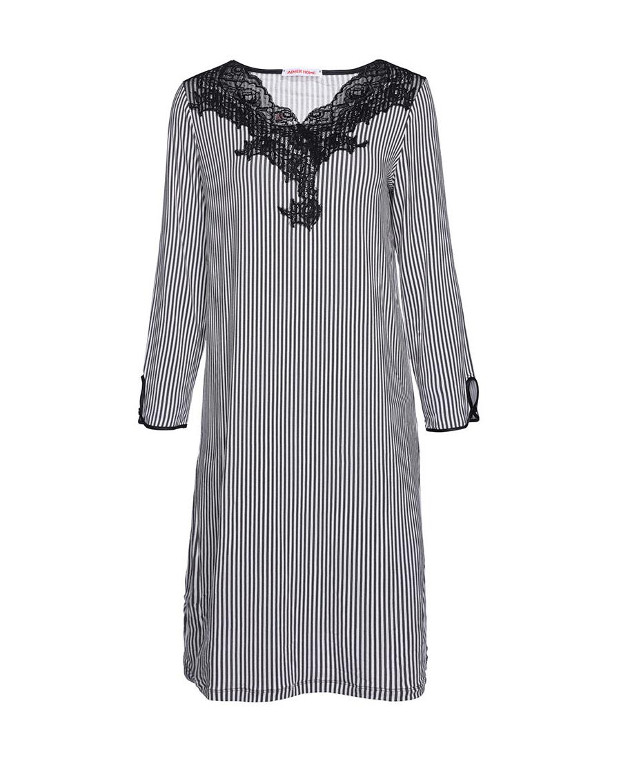 爱慕律动条纹长袖睡裙AH440602