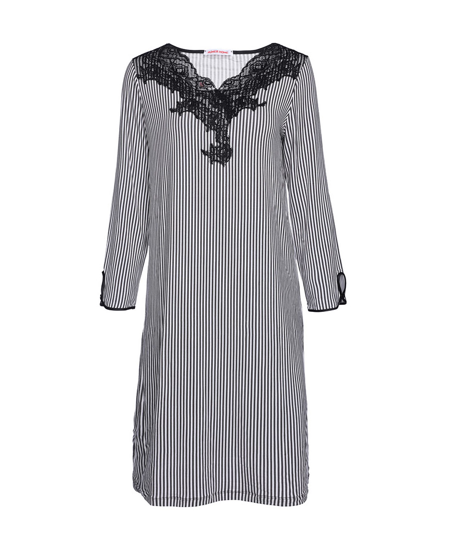 Aimer Home睡衣|爱慕律动条纹长袖睡裙AH440602
