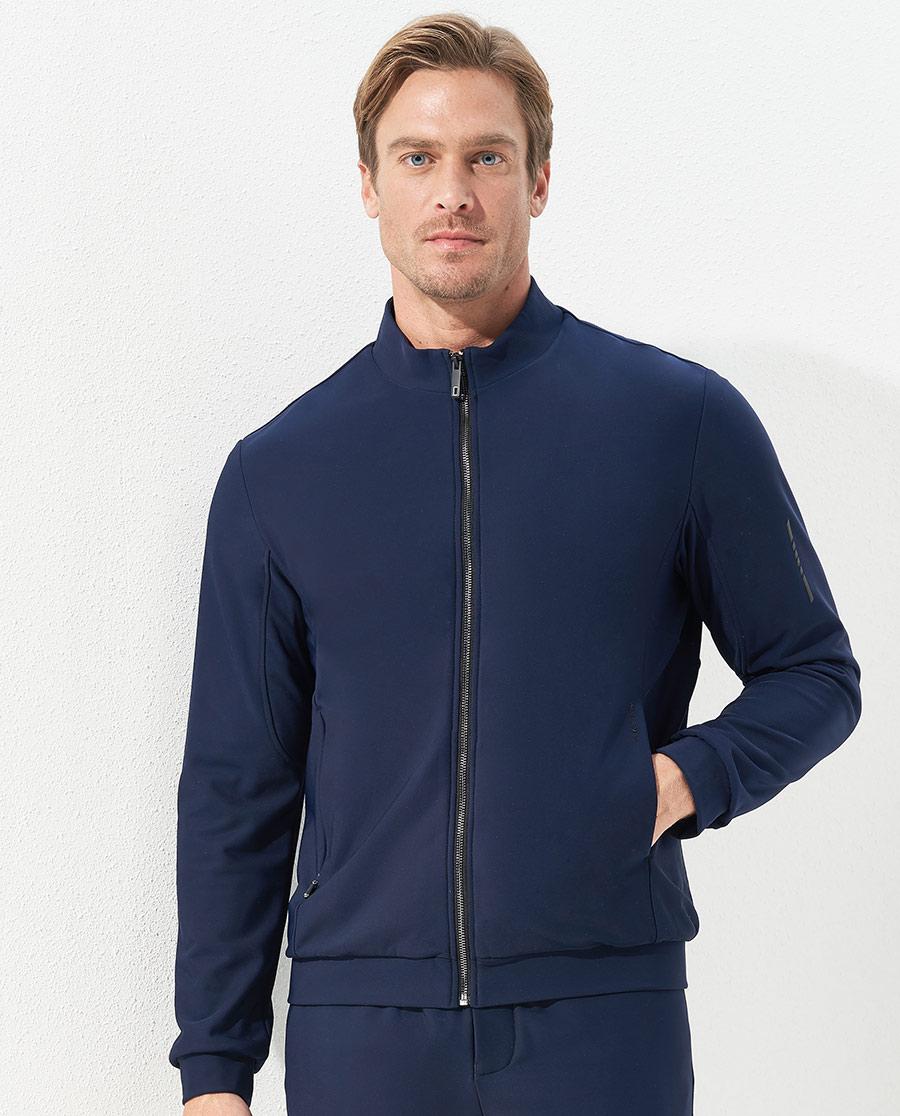 Aimer Men运动装|爱慕先生酷感运动立领拉链中绒藏蓝长袖上衣