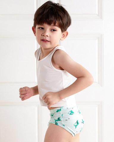 Aimer Kids内裤|爱慕儿童天使小裤棉氨纶印花鳄鱼杂耍中腰三角裤AK2221921