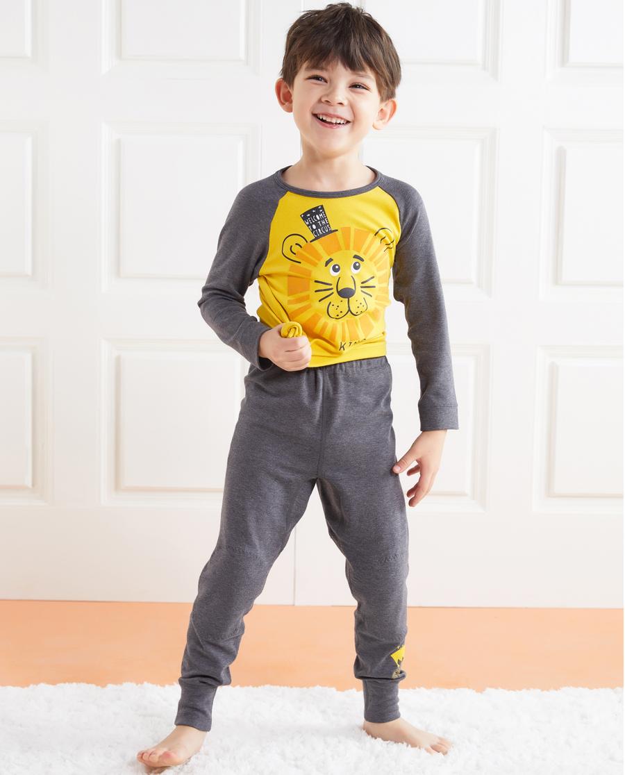 Aimer Kids保暖|爱慕儿童暖阳新意男童双层长裤AK2731
