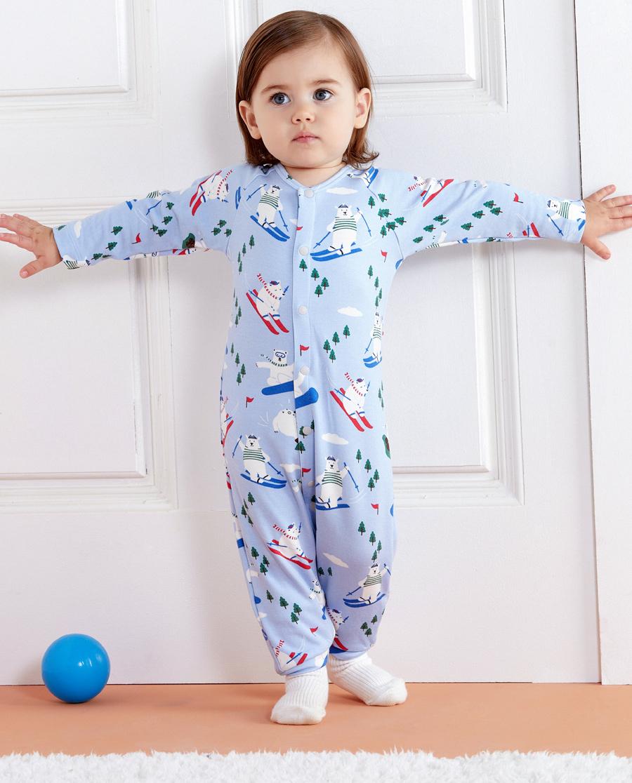 Aimer Baby保暖 爱慕婴儿滑雪熊男婴长袖连体爬服AB2751741
