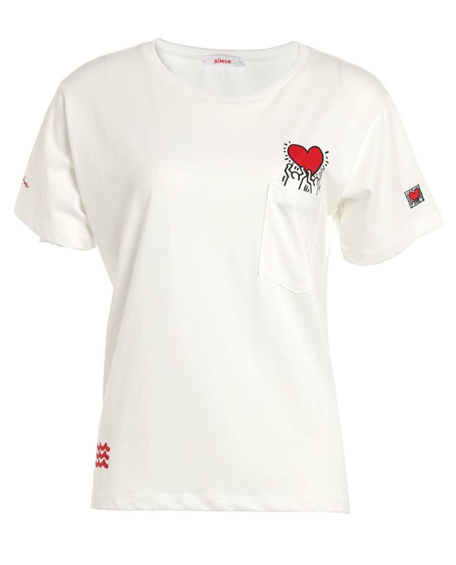 Aimer睡衣|爱慕Keith Haring短袖T恤AM812501