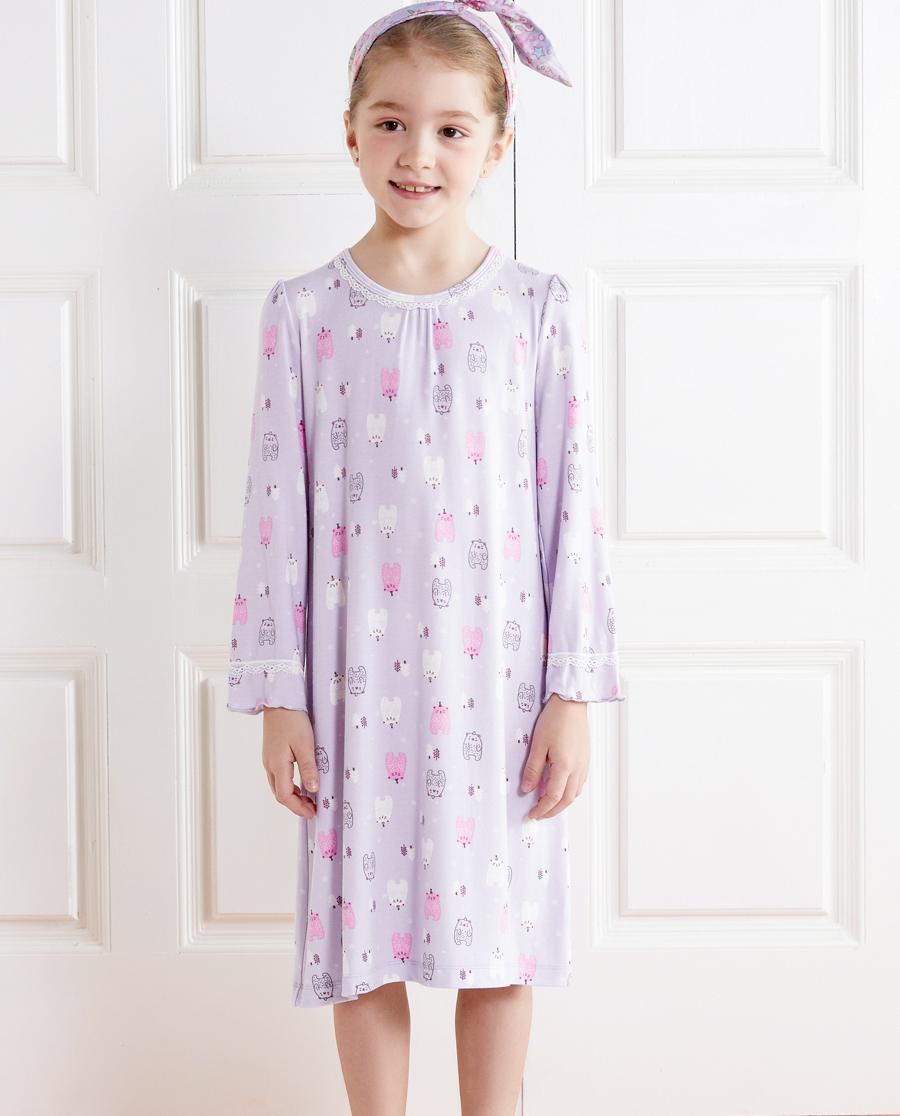 Aimer Kids睡衣|爱慕儿童雪花熊长袖睡裙AK1441751
