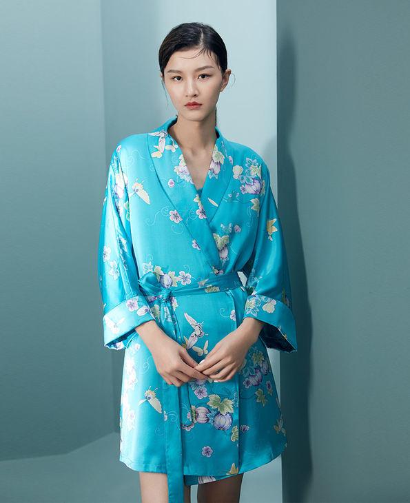 EMPERORIENT睡衣|皇锦印花香蕉领睡袍HJ21242