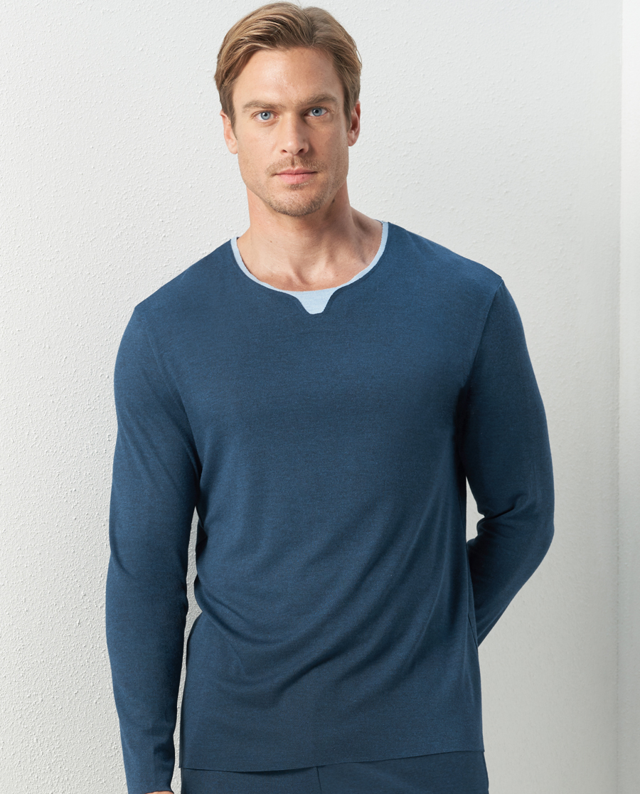 Aimer Men睡衣|亚洲城娱乐牛奶睡眠家居套头长袖NS41C6