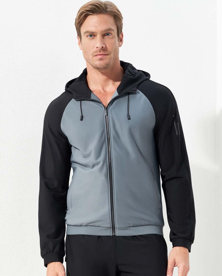 Aimer Men运动装|爱慕先生酷感运动帽衫灰黑中绒插肩拉链长袖
