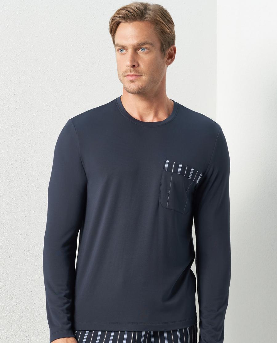 Aimer Men睡衣|亚洲城娱乐针织条纹家居圆领套头长袖NS41