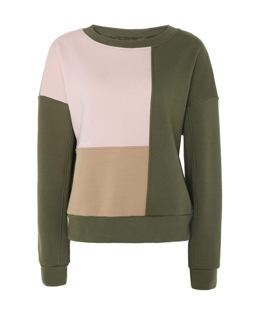 Aimer Sports睡衣|巴黎夫人运动运动假期圆领拼色套头卫衣AS14