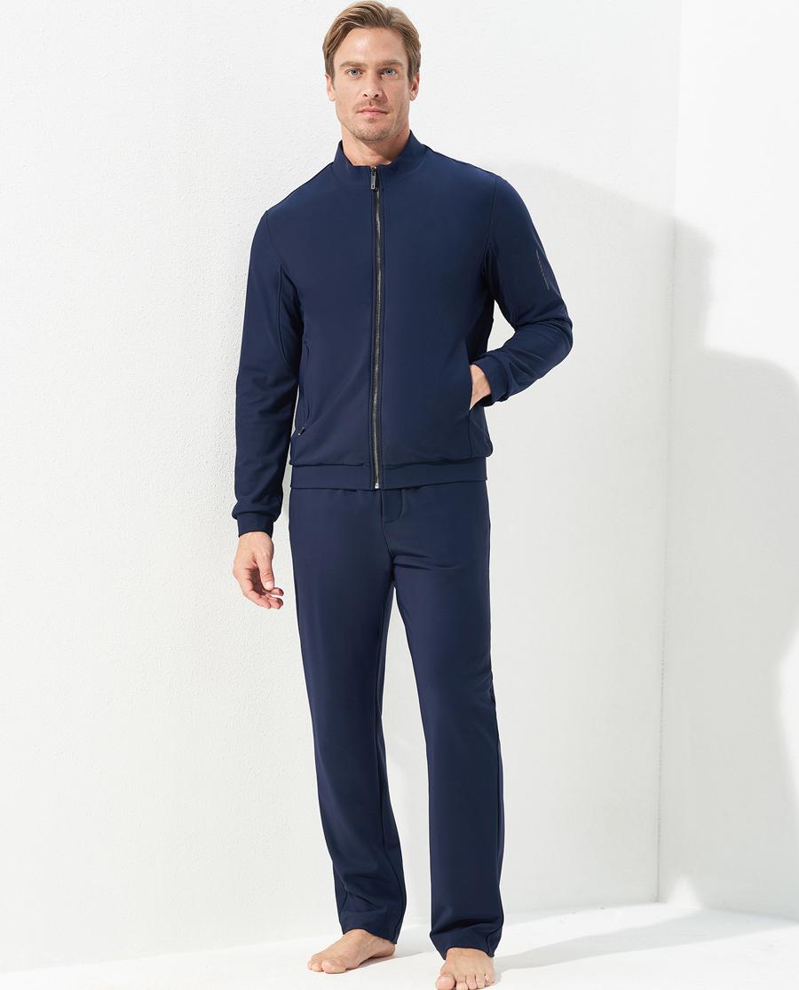Aimer Men运动装|爱慕先生酷感运动中绒敞口藏蓝长裤NS63