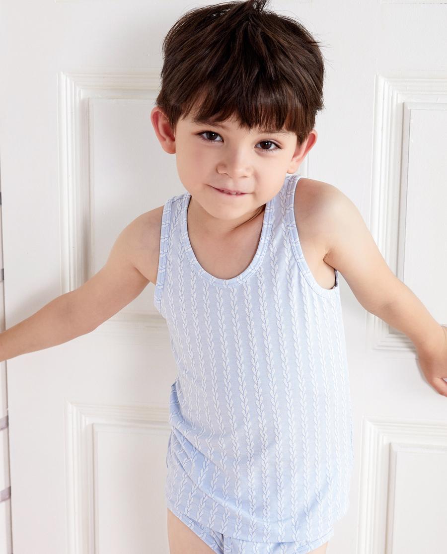 Aimer Kids睡衣 爱慕儿童温暖牛奶跨栏背心AK2111941