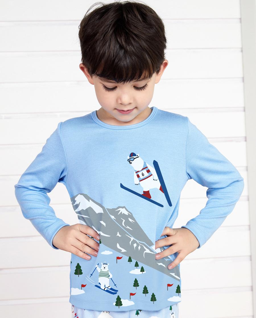 Aimer Kids睡衣 爱慕儿童滑雪熊套头长袖睡衣AK2411741