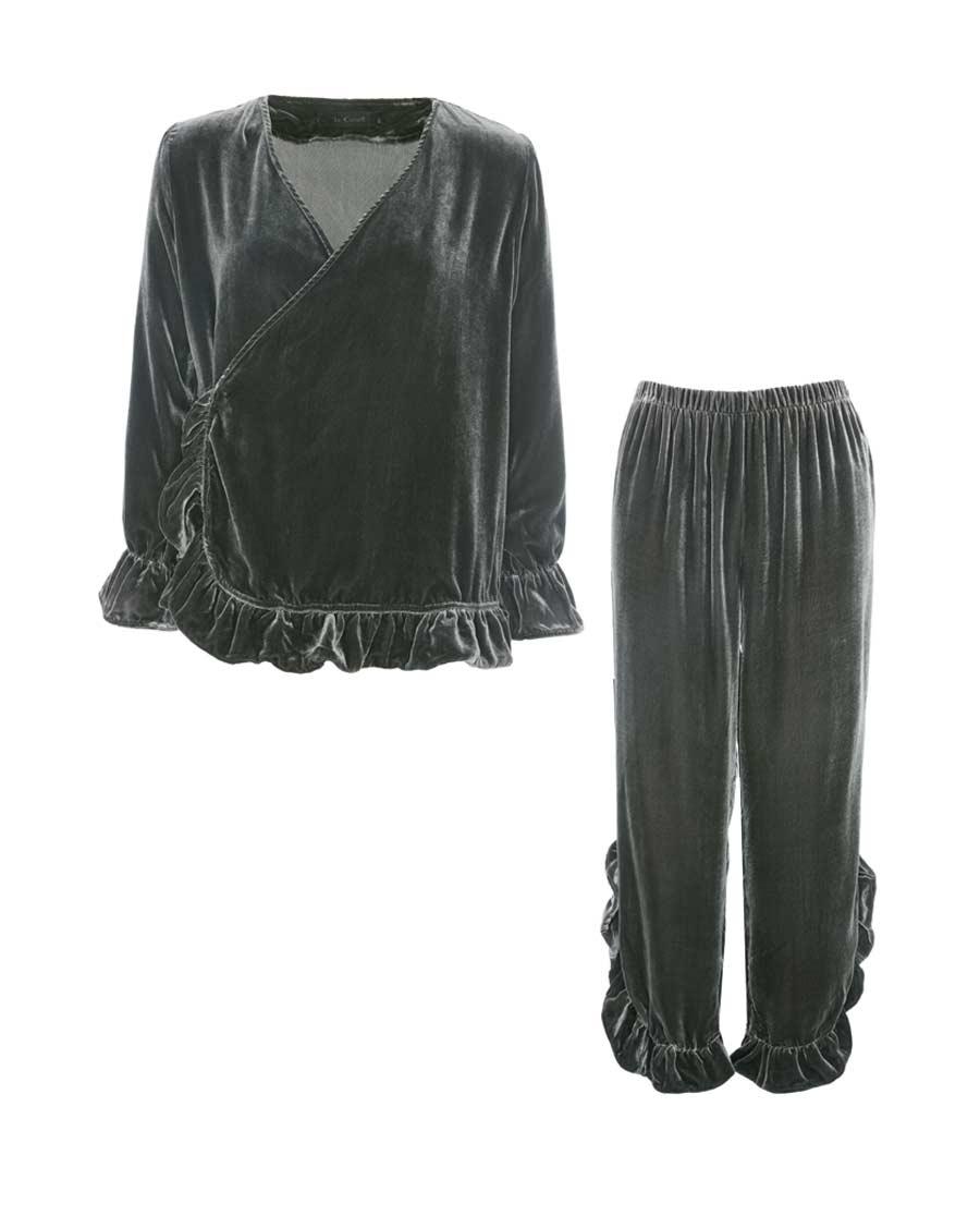 La Clover睡衣 LA CLOVER兰卡文绒绒暖意系列丝绒家居套装LC46JP1