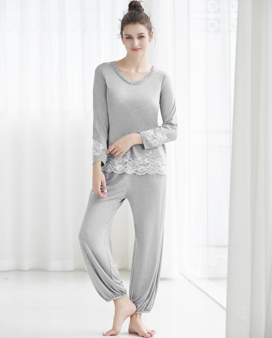 Aimer Home睡衣|愛慕家居蕾絲情緣長袖分身家居套裝AH46