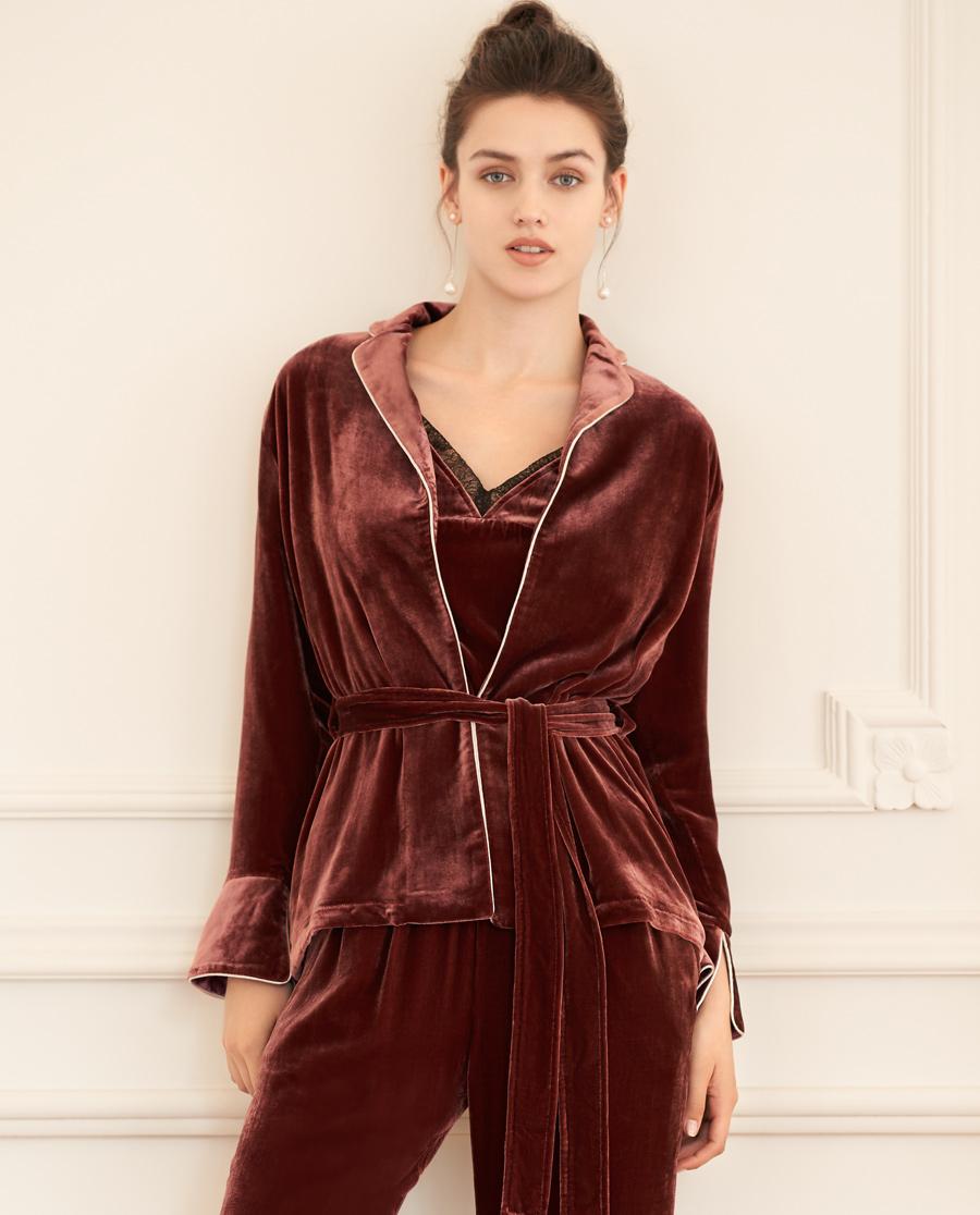 Aimer Home睡衣|爱慕家品丝绒外穿长袖外套AH450641