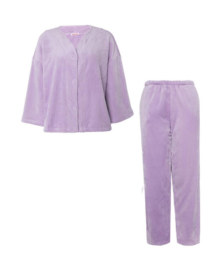 Aimer Home睡衣|爱慕家居珊瑚暖绒长袖分身家居套装AH460551