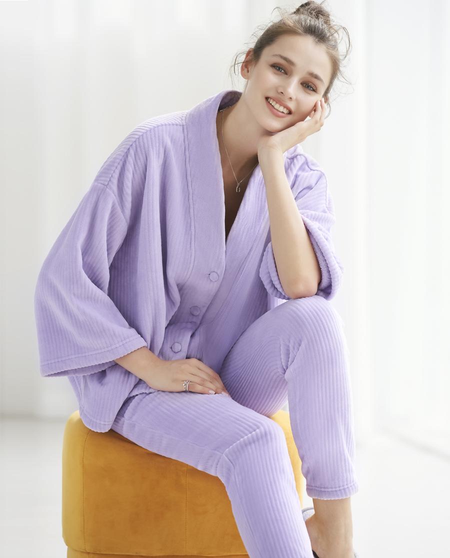 Aimer Home睡衣|巴黎夫人家居珊瑚暖绒长袖分身家居套装AH46