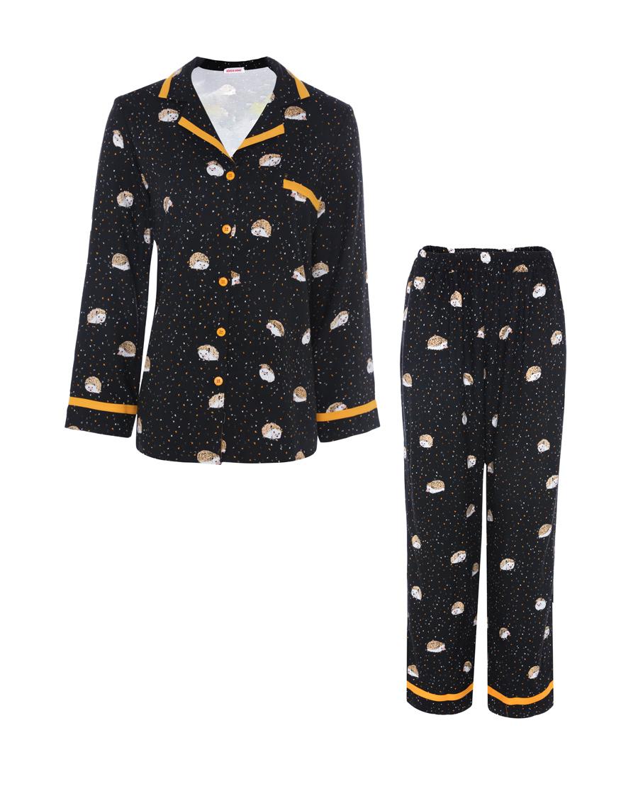 Aimer Home睡衣|爱慕家居乐享生活翻领长袖分身家居套装AH460571