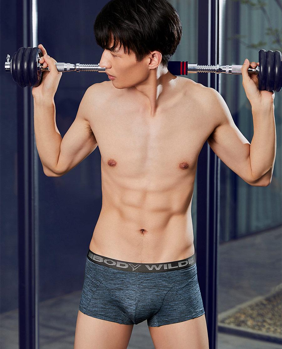 Body Wild内裤|宝迪威德花纱运动中腰平角内裤ZBN23N