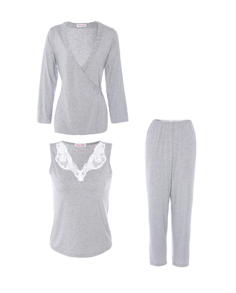 爱慕家居蕾丝情缘长袖上衣背心长裤家居套装AH460652