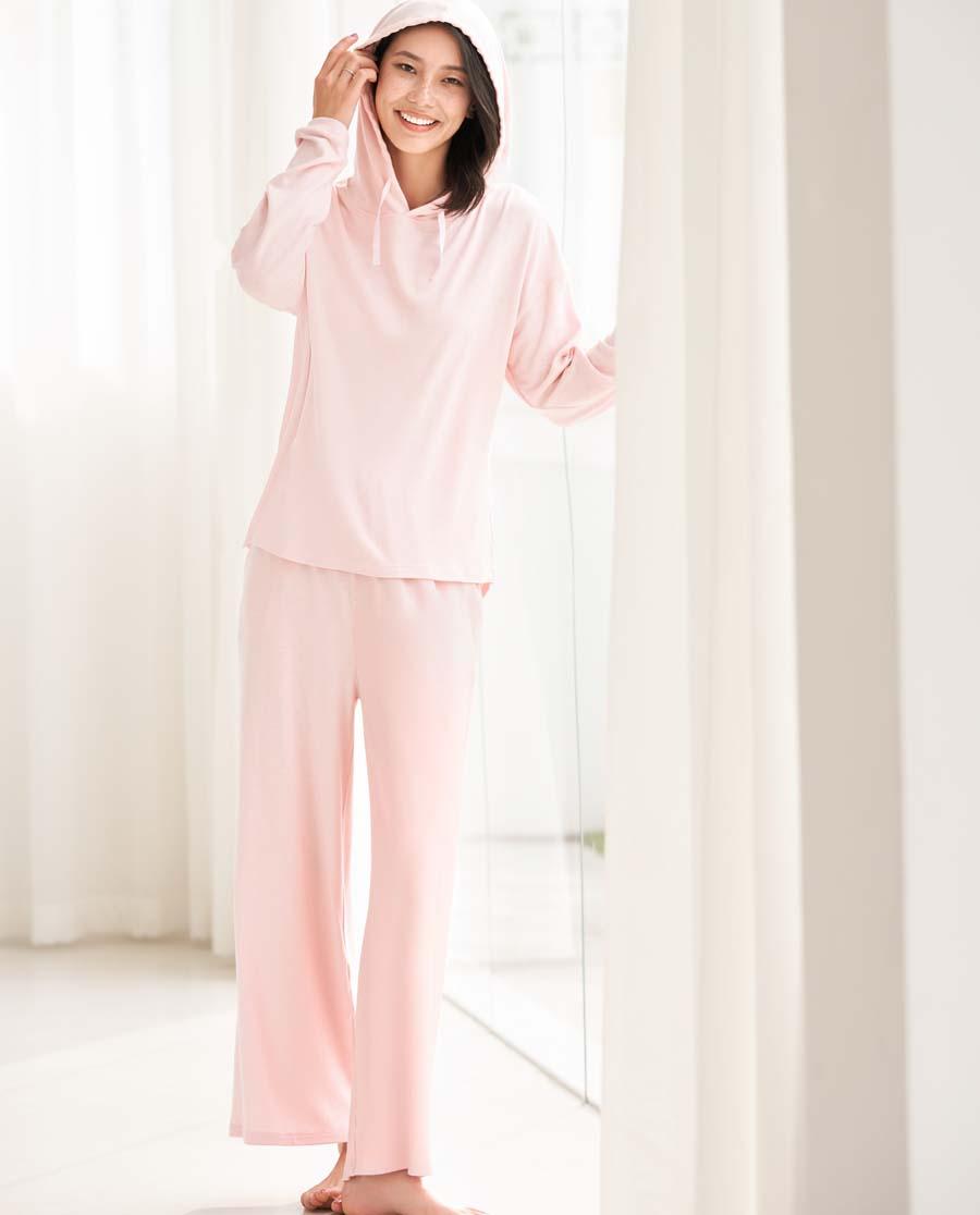Aimer睡衣|ag真人平台舒柔体验带帽圆领长袖分身家居套装AM