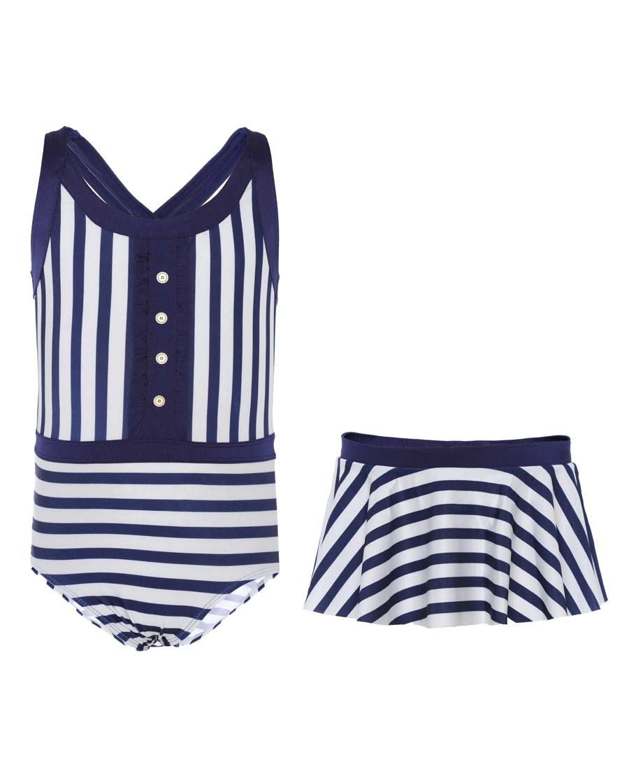 Aimer Kids泳衣|巴黎夫人儿童2件装 航海条纹女童连体泳衣AK
