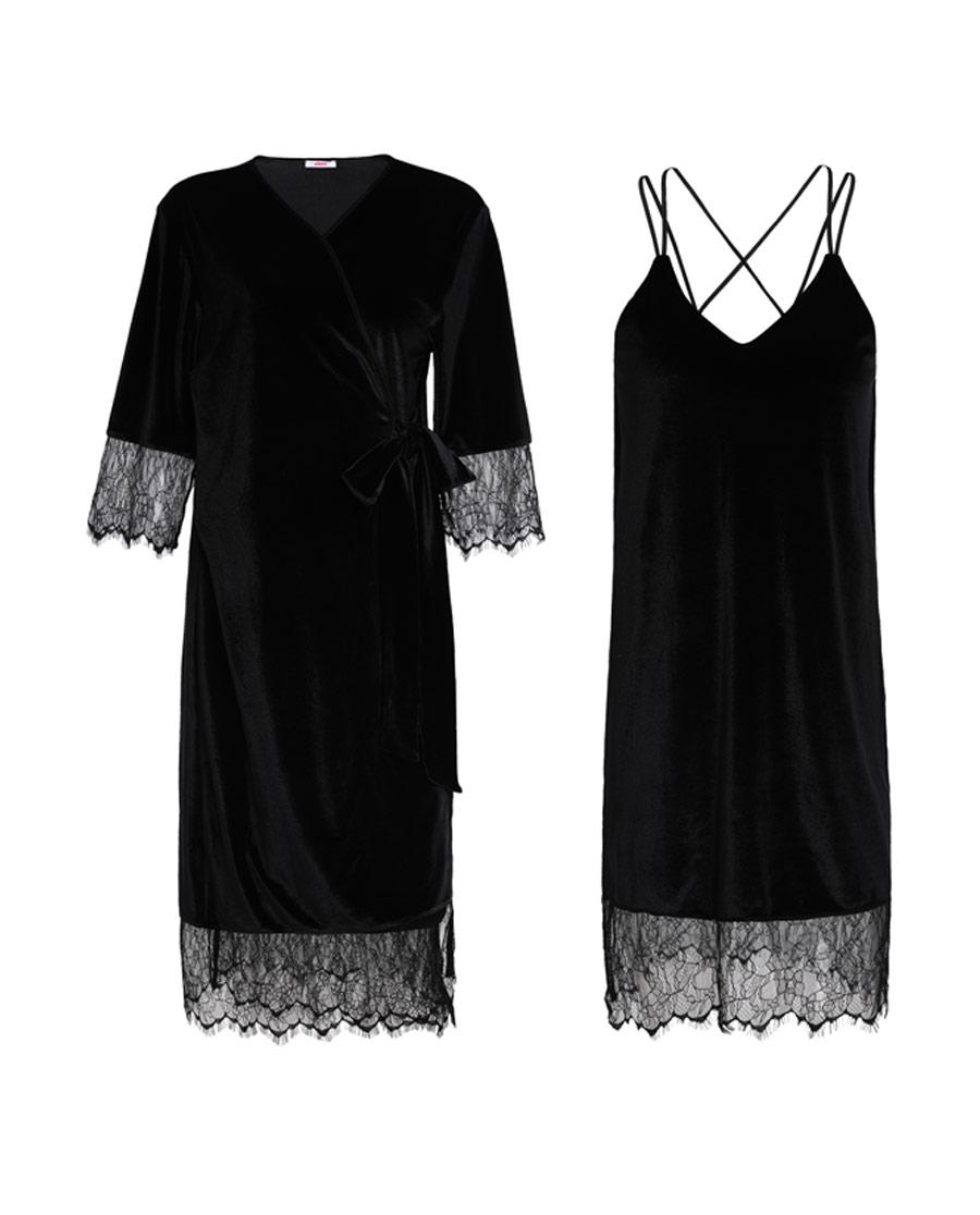 爱慕墨染安然丝绒蕾丝吊裙外披套装AM463541