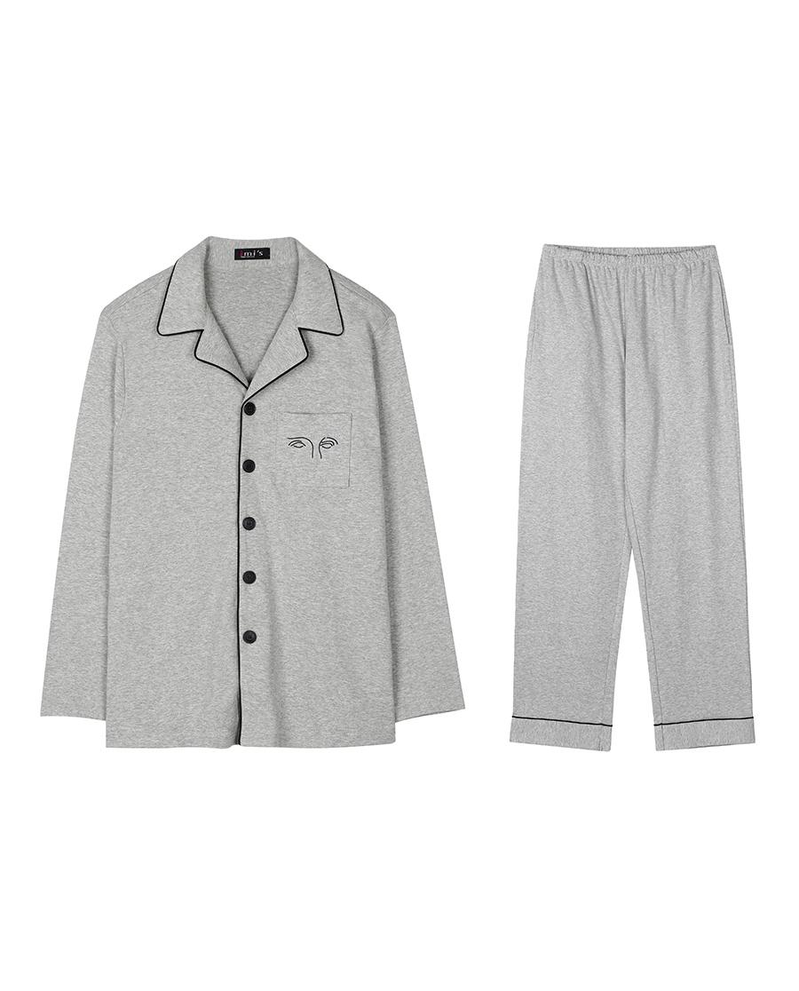 imi's睡衣|爱美丽家居石膏男式翻领开衫长袖长裤套装I