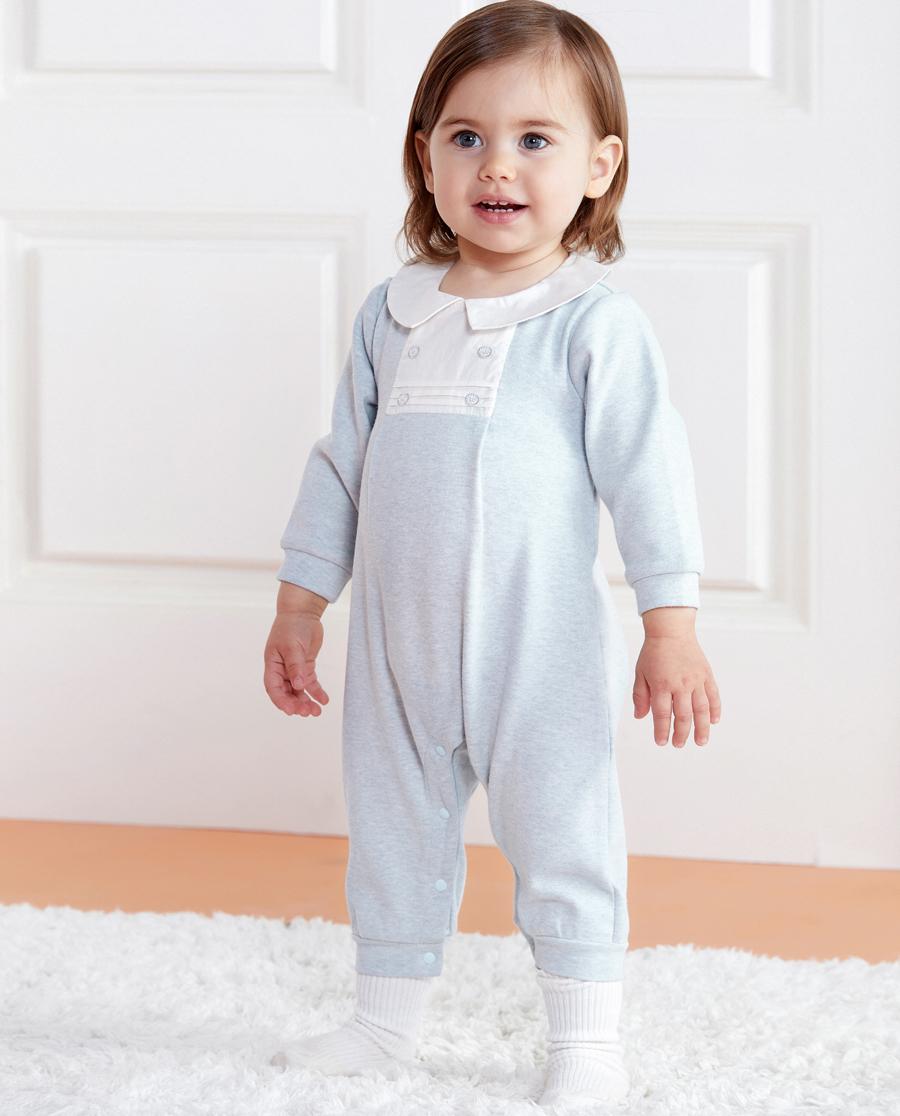 Aimer Baby保暖|愛慕植物條紋男嬰長袖連體爬服AB2751