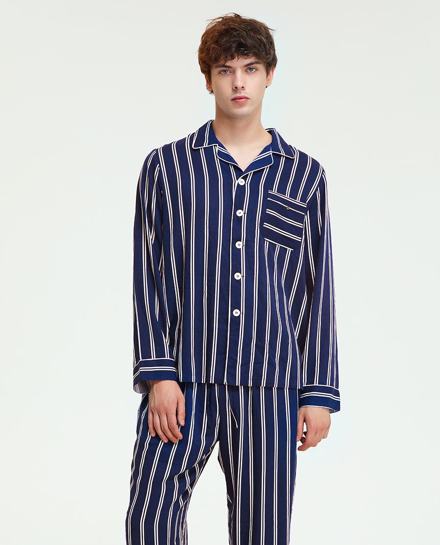 imi's睡衣|爱美丽家居我就喜欢男式翻领开衫长袖上衣长