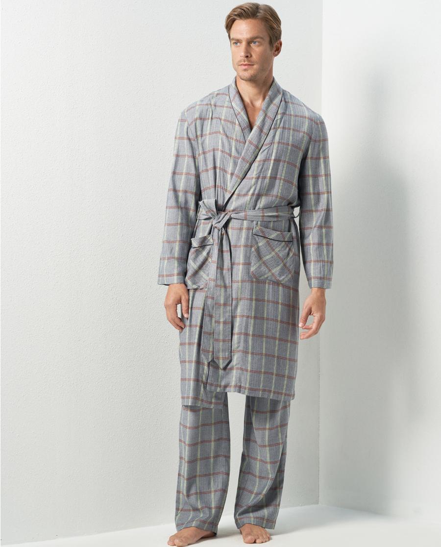 Aimer Men睡衣|爱慕先生年轻格纹家居睡袍NS41C672