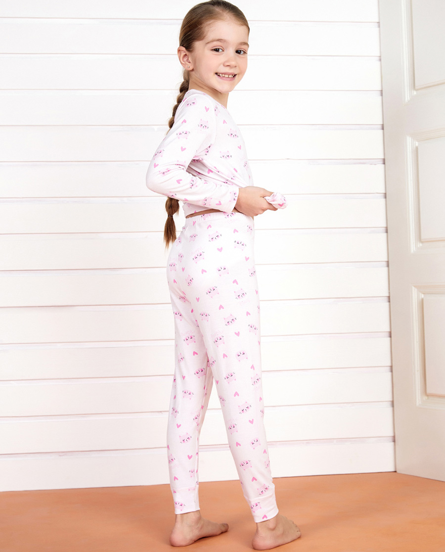 Aimer Kids保暖|愛慕兒童甜夢貓咪女童長褲AK173212