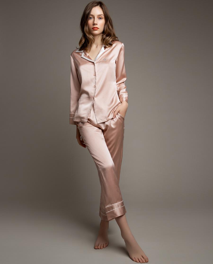 La Clover睡衣 LA CLOVER兰卡文素色真丝系列分身长袖套装LC46KN1