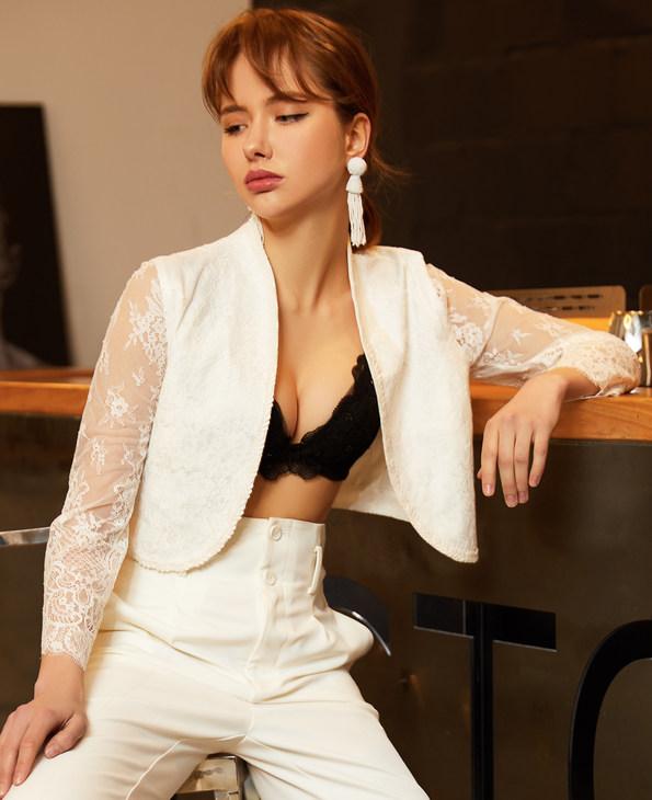 La Clover休闲外穿|LA CLOVER挚爱WHITE系列长袖蕾丝西服LC81HG1