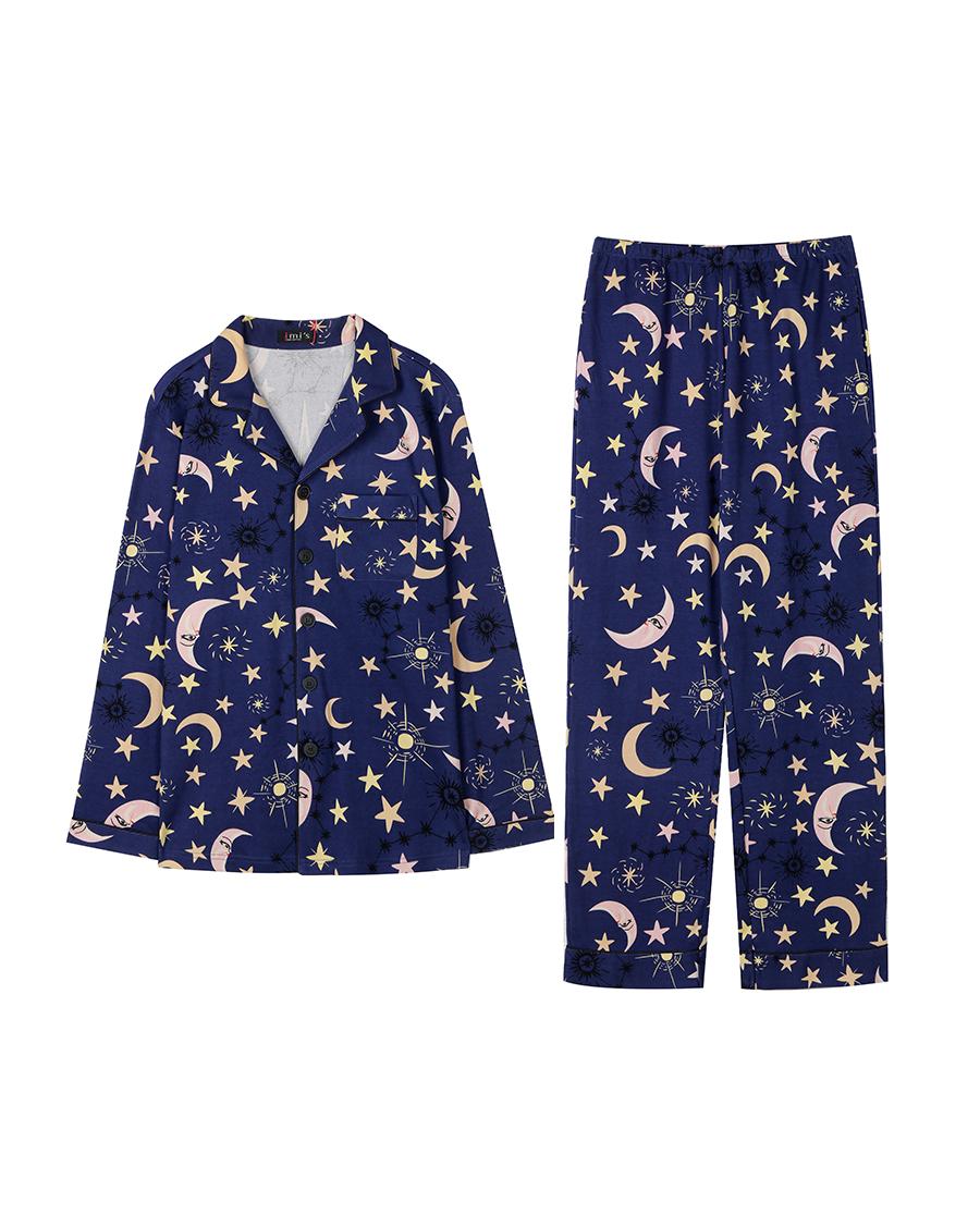 imi's睡衣|爱美丽家居魔幻星盘男式翻领开衫长袖长裤套