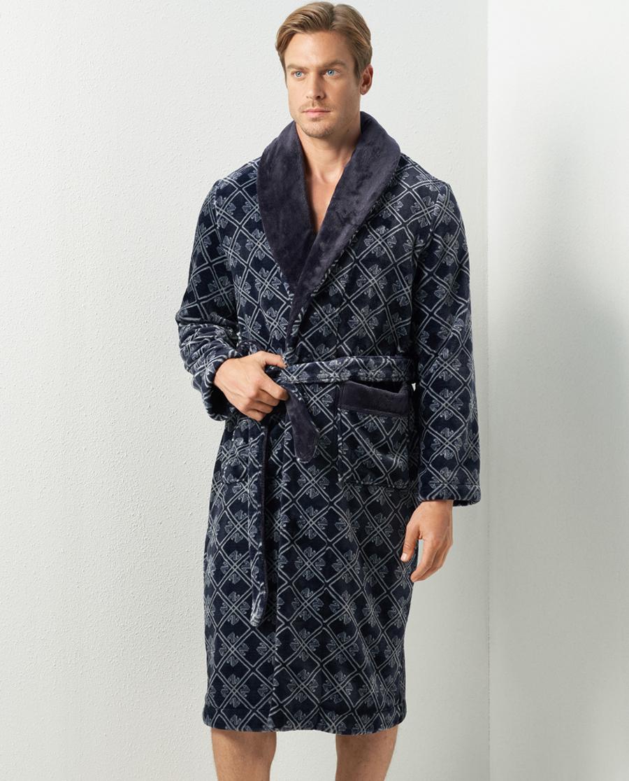 Aimer Men睡衣|愛慕先生珊瑚絨印花家居睡袍NS41C71