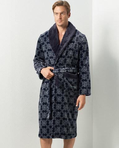 Aimer Men睡衣|爱慕先生珊瑚绒印花家居睡袍NS41C712