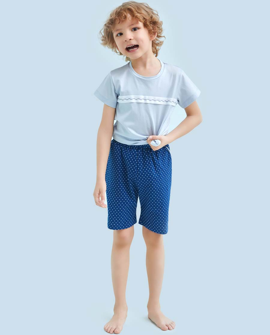 Aimer Kids睡衣|愛慕兒童點線樂趣男童五分褲AK24213