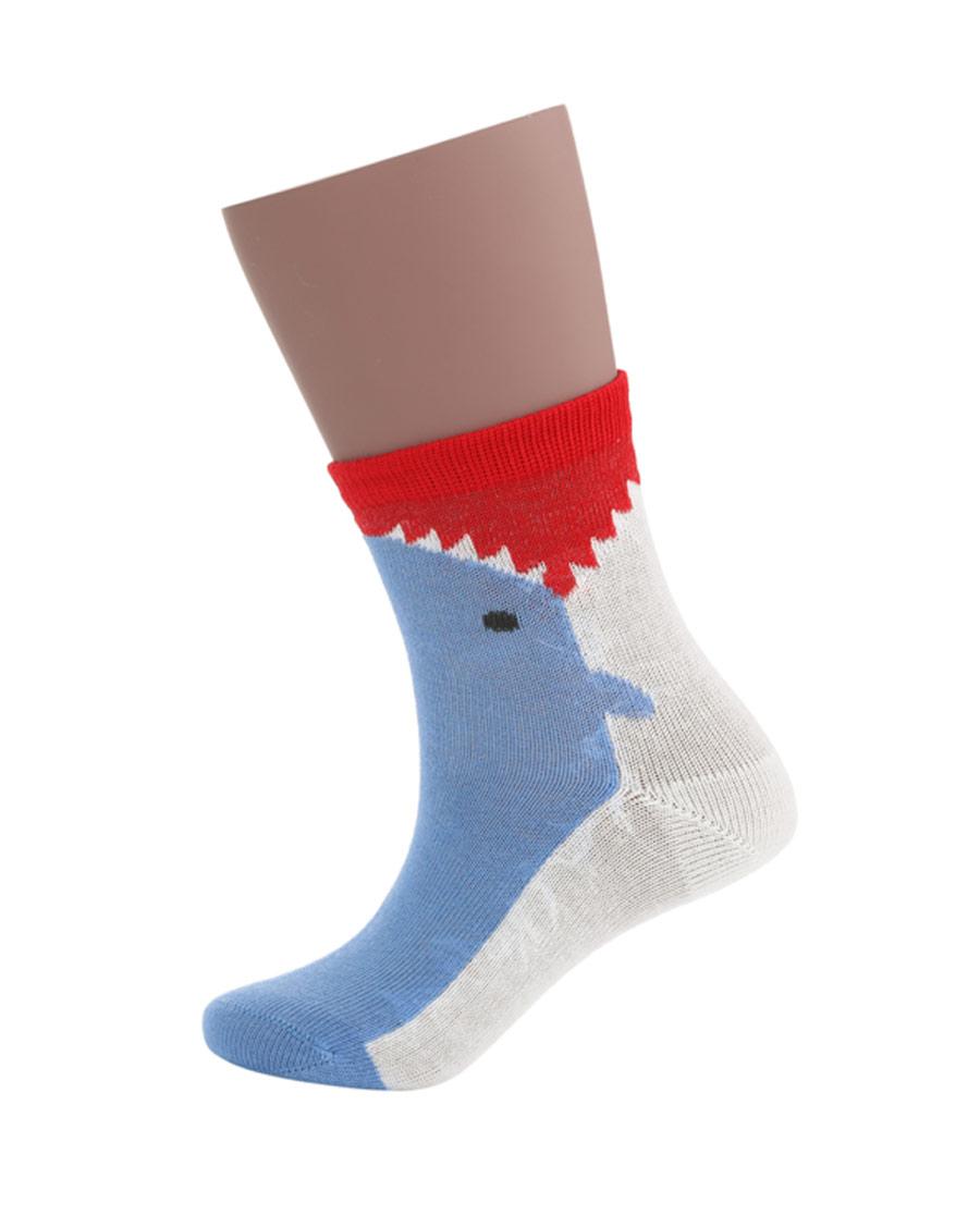 JOURVA襪子|足哇(2件包)鯊魚寶寶鯊魚提花棉質短筒襪