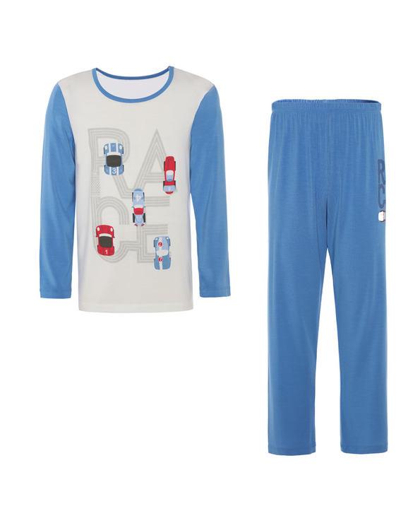Aimer Kids睡衣 爱慕儿童2件装光速赛车男童长袖上衣长裤套装AK2432901