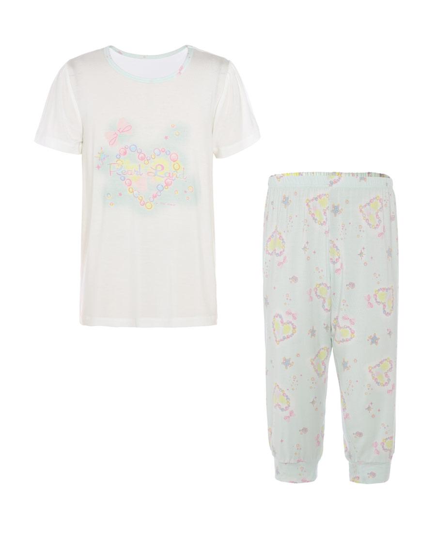 Aimer Kids睡衣|愛慕兒童2件裝珍珠樂園短袖七分褲家居套裝
