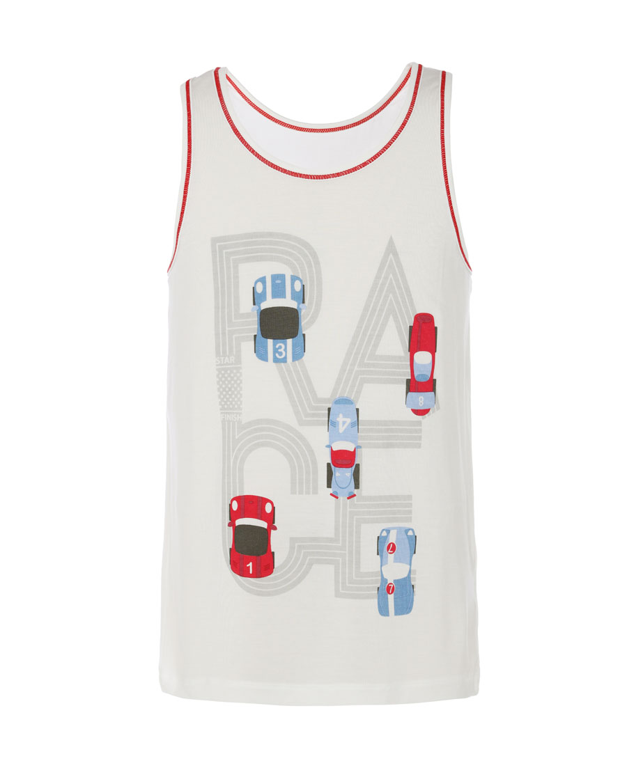 Aimer Kids睡衣|爱慕儿童天使背心modal印花光速赛车跨栏背心AK2112782