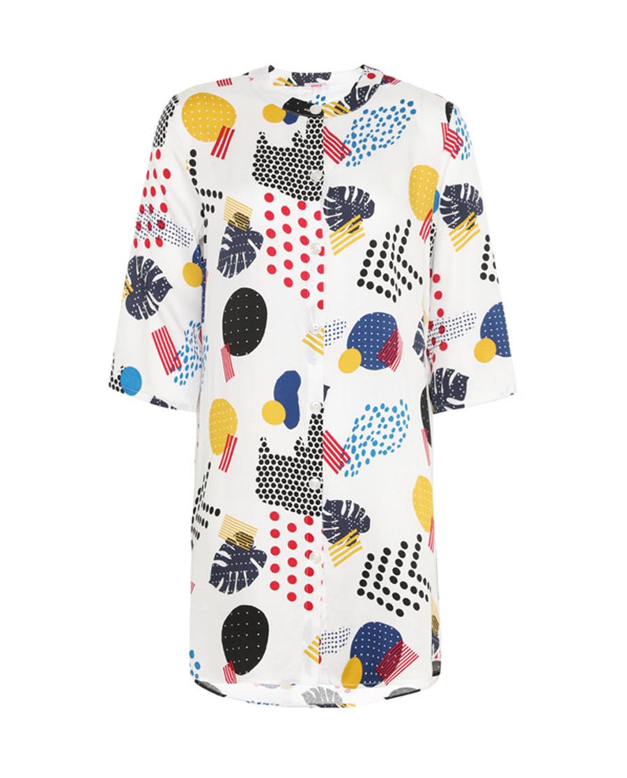 Aimer睡衣|爱慕时尚几何七分袖长衬衫裙AM44396