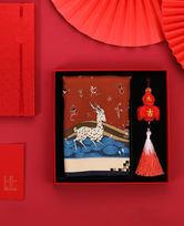 """敦煌""""九色鹿""""丝巾福禄吉祥礼盒HJ43293"""