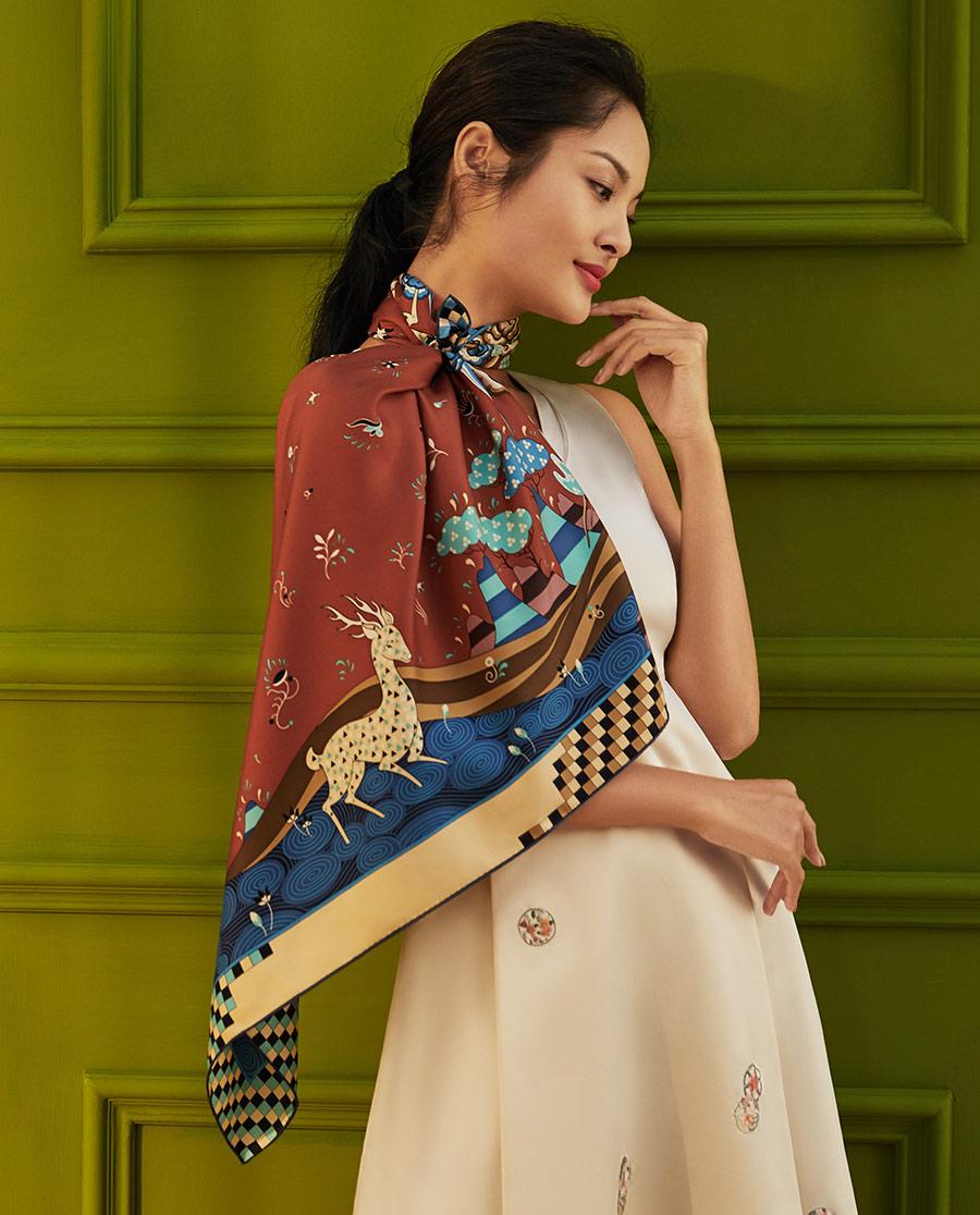 EMPERORIENT配飾|印花方巾-九色鹿HL31067
